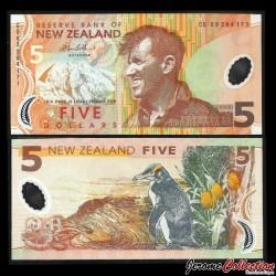 NOUVELLE ZELANDE - Billet de 5 Dollars - Sir Edmund Hillary - Polymer - 2005