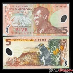 NOUVELLE ZELANDE - Billet de 5 Dollars - Sir Edmund Hillary - Polymer - 2006
