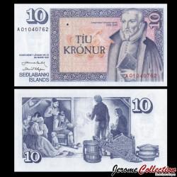 ISLANDE - Billet de 10 Kronur - Arngrímur Jónsson - 1961 P48a1