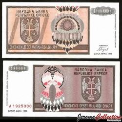 BOSNIE HERZEGOVINE - Billet de 10 000 000 000 000  Dinara - 1993
