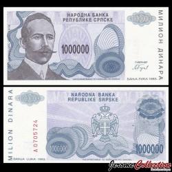BOSNIE HERZEGOVINE - Billet de 1 000 000 Dinara - Petar Kočić - 1993 P152a