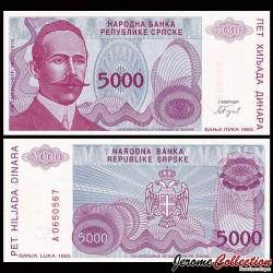 BOSNIE HERZEGOVINE - Billet de 5000 Dinara - Petar Kočić - 1993 P149a