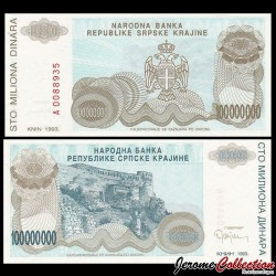 CROATIE - BILLET de 100 000 000 Dinars - Forteresse de Knin - 1993 PR25a