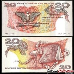 PAPOUASIE NOUVELLE GUINEE - Billet de 20 Kina - Oiseau de paradis - 1989