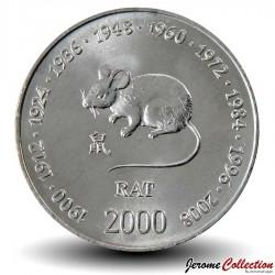 SOMALIE - PIECE de 10 shillings - Année du Rat - 2000