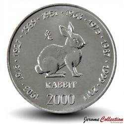 SOMALIE - PIECE de 10 shillings - Année du Lapin - 2000