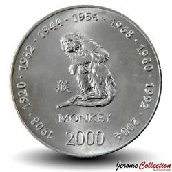 SOMALIE - PIECE de 10 shillings - Année du Singe - 2000 Km#98