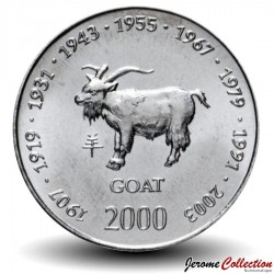 SOMALIE - PIECE de 10 shillings - Année de la Chèvre - 2000 Km#97