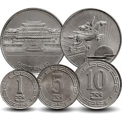 COREE DU NORD - SET / LOT de 5 PIECES de 1 5 10 50 CHON - 1 WON - 1959 1978 1987 Km#1 2 3 4 18