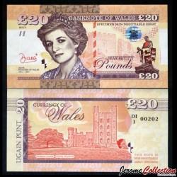 PAYS DE GALLES / WALES - Billet de 20 Pounds - Lady Diana - 2017 0020 - DIANA - Gabris