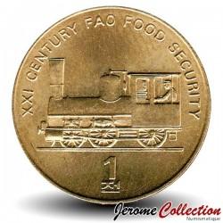COREE DU NORD - PIECE de 1 Chon - Locomotive - 2002 Km#195