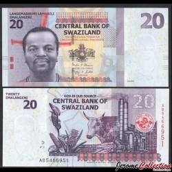 SWAZILAND (Eswatini) - Billet de 20 Emalangeni - 2017 P37c