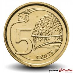 SINGAPOUR - PIECE de 5 Cents - Centre des arts du spectacle - 2013 Km#345