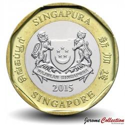 SINGAPOUR - PIECE de 1 Dollar - Bimétal - Merlion - 2014