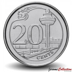 SINGAPOUR - PIECE de 20 Cents - Aéroport de Changi - 2013 Km#347