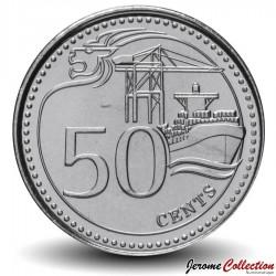 SINGAPOUR - PIECE de 50 Cents - Le port de Singapour - 2013 Km#348