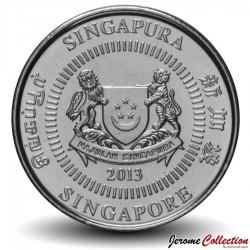 SINGAPOUR - PIECE de 50 Cents - Le port de Singapour - 2013