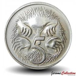 AUSTRALIE - PIECE de 5 Cents - Echidné australien - 1970 Km#64