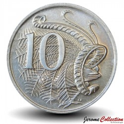 AUSTRALIE - PIECE de 10 Cents - Oiseau Ménure superbe - 1970 Km#65