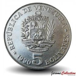 VENEZUELA - PIECE de 5 Bolivars - 1990 Y#53a