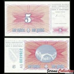 BOSNIE HERZEGOVINE - Billet de 5 Dinara - 1994 P40a