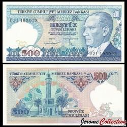 TURQUIE - Billet de 500 Lire turque - Tour de l'horloge, Izmir - 1984 P195a(2)