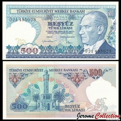 TURQUIE - Billet de 500 Livre turque - Tour de l'horloge, Izmir - 1984 P195a2