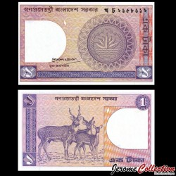 BANGLADESH - Billet de 1 Taka - Cerfs - 1991 P0006Ba(7)