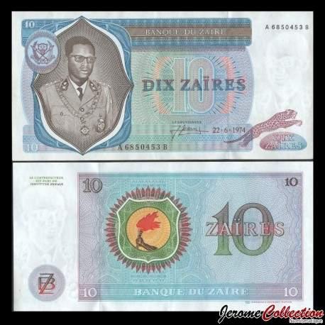 ZAIRE - Billet de 10 Zaïres - Mobutu - 22.06.1974 P23a.2