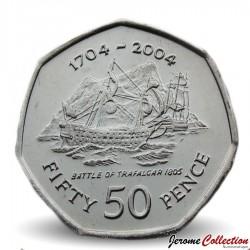 GIBRALTAR - PIECE de 50 Pence - Tricentenaire de la bataille de Trafalgar - 2004 Km#1050