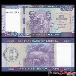LIBERIA - Billet de 500 Dollars - Hippopotame et son petit - 2017 P36b