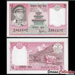 NEPAL - Billet de 5 Roupies - Yaks - 1973