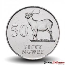 ZAMBIE - PIECE de 50 Ngwee - Antilope Cobe de Lechwe - 1992 Km#30