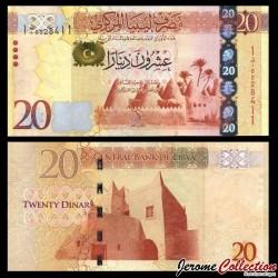 LIBYE - Billet de 20 Dinars - Mosquée à Awjila - 2013