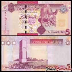 LIBYE - Billet de 5 Dinars - Dromadaire et son petit - 2011
