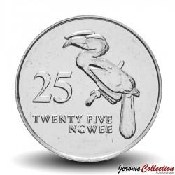 ZAMBIE - PIECE de 25 Ngwee - Calao couronné - 1992 Km#29