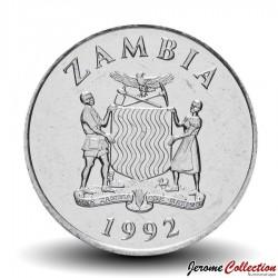 ZAMBIE - PIECE de 25 Ngwee - Calao couronné - 1992