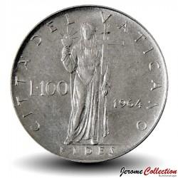 VATICAN - PIECE de 100 Lires - Foi avec la Croix - 1964 Km#82.2