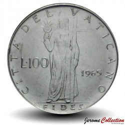 VATICAN - PIECE de 100 Lires - Foi avec la Croix - 1965 Km#82.3