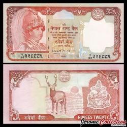 NEPAL - Billet de 20 Roupies - Cerf sambar - 2002