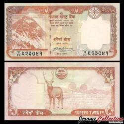 NEPAL - Billet de 20 Roupies - Cerf sambar - 2009