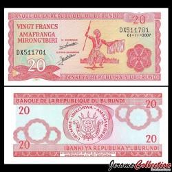 BURUNDI - Billet de 20 Francs - 2007