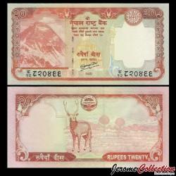 NEPAL - Billet de 20 Roupies - Cerf sambar - 2010