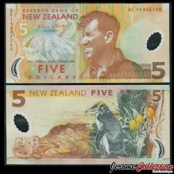 NOUVELLE ZELANDE - Billet de 5 Dollars - Sir Edmund Hillary - Polymer - 2014