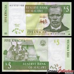 MALAWI - Billet de 5 Kwacha - Révérend John Chilembwe - 1.07.1997 P36a