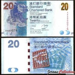 HONG KONG - Standard Chartered Bank - Billet de 20 DOLLARS - Poisson Mythique - 2010 P297a