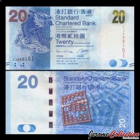HONG KONG - Standard Chartered Bank - Billet de 20 DOLLARS - Poisson Mythique - 2014 P297c