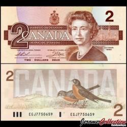CANADA - Billet de 2 DOLLARS - Elizabeth II / Rouge-gorge - 1987