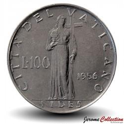 VATICAN - PIECE de 100 Lires - Fides (La foi) - 1956 Km#55