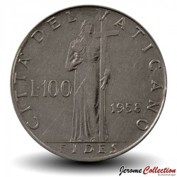 VATICAN - PIECE de 100 Lires - Fides (La foi) - Pie XII - 1958 Km#55
